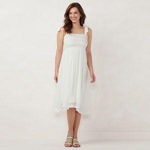 NWT Lauren Conrad White Smocked Rainbow Midi Dress